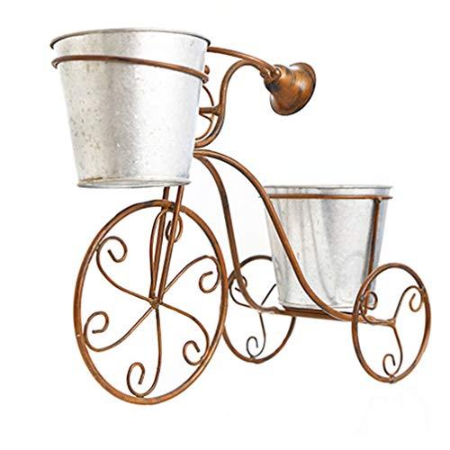 YARNOW Jardinera de Pie de Metal Triciclo Decorativo Soporte de Planta Soporte de Flores para Bicicleta de Hierro Bicicleta Nostálgica Decoración Del Jardín Del Hogar