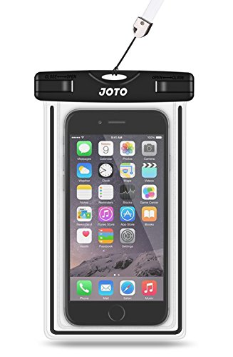 "JOTO Universal Waterproof Case, Cellphone Dry Bag for iPhone XS Max XR X 8 7 6S Plus SE 2020, Galaxy S10 S10e S9 S8 Plus/S6/Note 8 6 5 4, Pixel 3 XL/3 HTC LG Sony Nokia Motorola up to 6.5"" -Black"