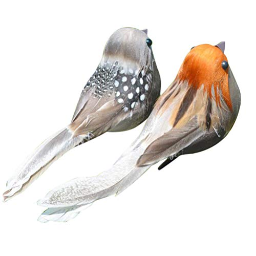 6pcs 3D Artificial Foam Feather Birds DIY Crafts Ornament Home Garden Decor(Clip Style,Assorted Color)
