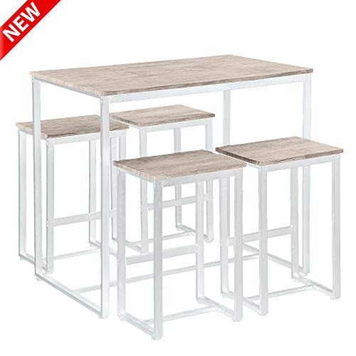DANGRUUT Best 5 Piece Dining Table Set for Small Spaces, Modern Style Counter Pub Height Table Set, Wooden Kitchen Table Table and 4 Chairs with Strong Metal Legs for Dining Room, Studio Apartment