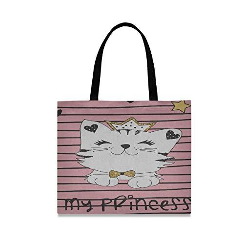 Große quadratische Kapazität Mens Canvas Bag meine Prinzessin Cat Umhängetasche 19,7 X 16.9in...