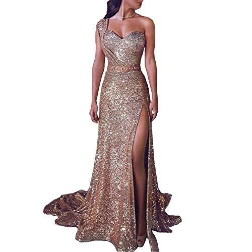 FHKGCD Sommer Langes Kleid Frauen Pailletten One Shoulder Maxikleider Party Night Split Kleid Kleidung, L.