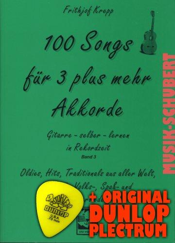 Frithjof Krepp (zakboek - 2002) (Noten/Sheetmusic) voor 3 plus meer akkoorden 3 incl. plectrum - olies, Hits, traditionals uit de hele wereld, Duitse volks-, leuk- en kinderliedjes voor absolute beginners op de gitaar (gitaar zelf leren in recordtijd)