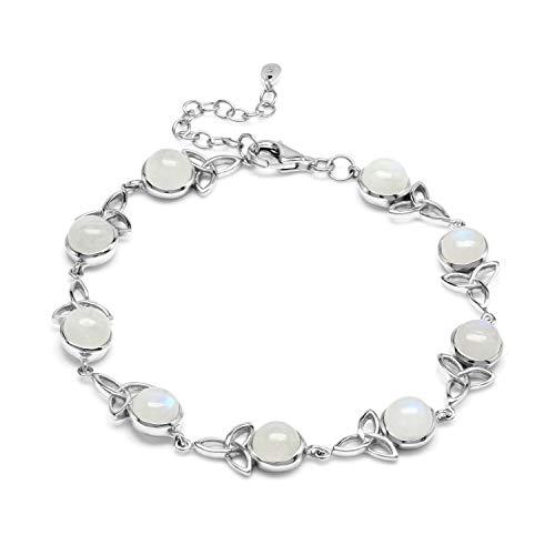 Silvershake Natural Moonstone 925 Sterling Silver Triquetra Celtic Knot 8 plus 1.5 Inch Extension Adjustable Bracelet