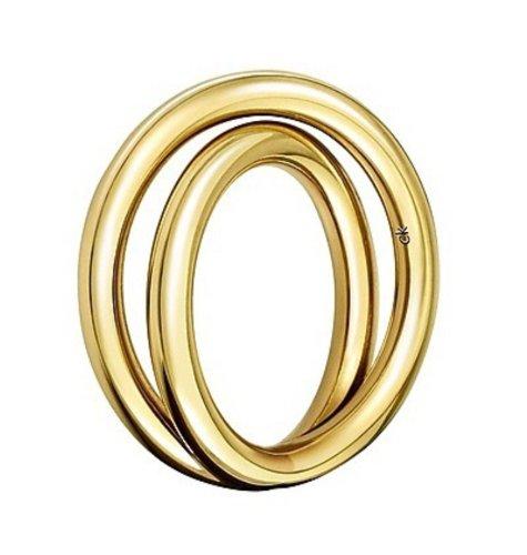 CK Calvin Klein KJ0EJR100107 - Anillo de bañado en Oro, Talla 14 (17,2 mm)