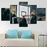 Arte de pared enmarcado sin marco, decoración de pared para sala de estar, dormitorio, decoración del hogar, pasillo, baloncesto aro gigante de balones de baloncesto 5 piezas