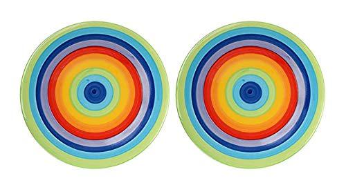 Windhorse - Piatto laterale in ceramica a righe arcobaleno, 18 cm (piccolo) (2 piatti)