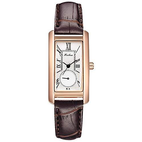 JZDH Frauen Uhren Mode Rechteck Zifferblatt Lederband Uhren Für Frauen Casual Business Armbanduhr Gold Weibliche Uhr Quarzuhr Relogio Feminin Ladies Girls Casual Decorative Uhren (Color : Brown)