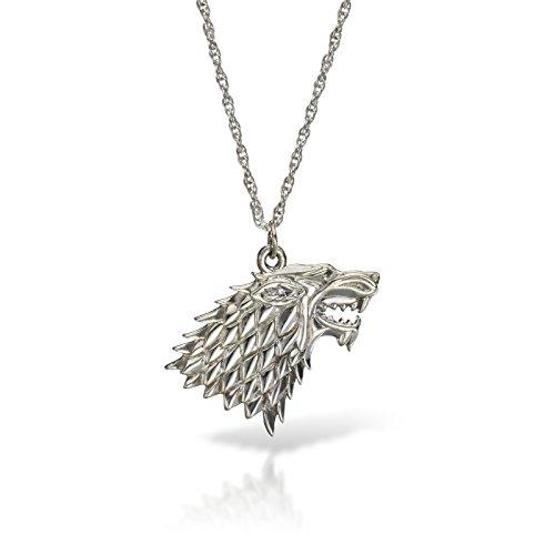 Collana con ciondolo a forma di lupo, Trono di Spade, Casa Stark, argento
