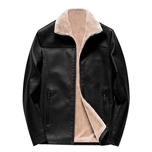 Read About NEARTIME Men's Plus Velvet Leather Jacket Winter Warm Biker Motorcycle Zipper Long Sleeve...