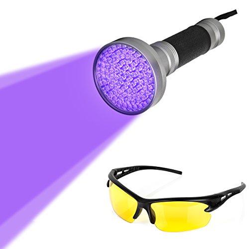 100 LEDs UV Schwarzlicht Taschenlampe mit UV-Schutzbrille,Ultraviolett Handlampe Heimtierurindetektoren,für eingetrocknete Urin- Flecken der Hunde,Katzen und Nagetiere
