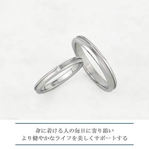 [フェフェ]fe-fe×phiten[特別仕様]ファイテン細身ラインダイヤモンド純チタンペアリング(レディース9号メンズ19号)指輪