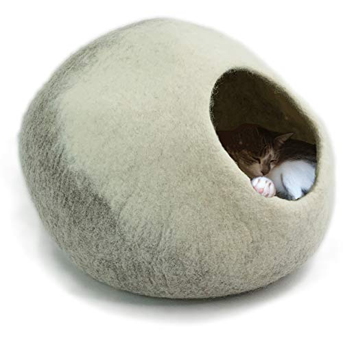 8-Natur® Tüv getestete Katzenhöhle Filz 100{17c8da61373a234e4282d875d3505a1f03e74c2f5f4b8428de3a6776d5ee12dd} Wolle fair, ökologisch und schadstoffgeprüft | Katzenhaus mit isolierendem Innenkissen, waschbar | Katzenbett flauschig oder Hundehöhle kleine Hunde