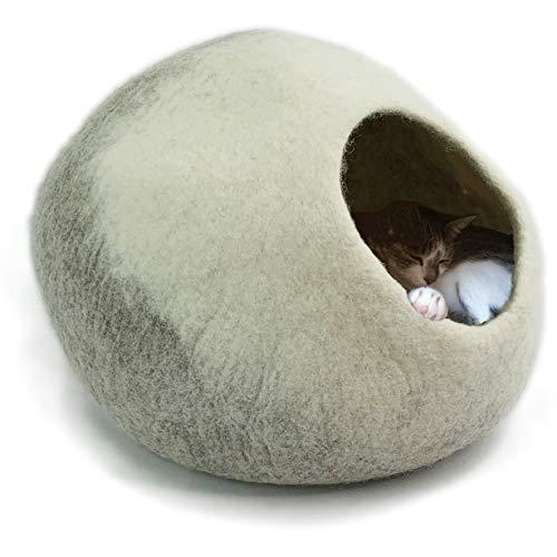 8-Natur® Tüv getestete Katzenhöhle Filz 100{ffc24d0859e1c84d8161adab9f13db3cefd8f76caa5db95a30fdd0e508dc2c8f} Wolle fair, ökologisch und schadstoffgeprüft | Katzenhaus mit isolierendem Innenkissen, waschbar | Katzenbett flauschig oder Hundehöhle kleine Hunde