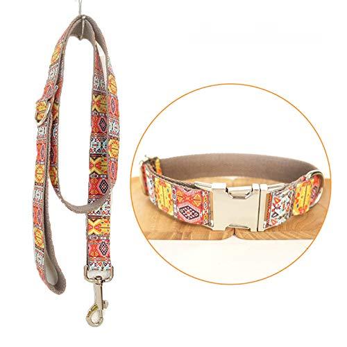 TVMALL Hund Set Halsband verstellbar Outdoor Pet Leine Seil Set Halsband Bohemian-Stil Hundehalsband für mittelgroße und Kleine Hunde(Böhmisches Grau,M)