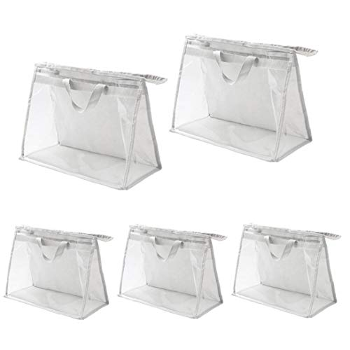 Transparent Handbags Organizer PVC Toiletry Storage Bag with Zipper and Handle Anti Dust Waterproof for Travel Women 5PCS
