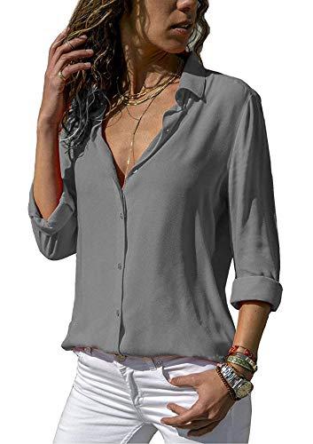 ASKSA Damen Bluse Chiffon Elegant Langarm/Kurzarm Oberteile Einfarbig V-Ausschnitt Lose Hemdbluse T-Shirt Tops (Grau, S)