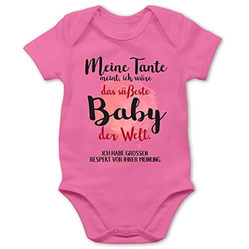Shirtracer Strampler Motive - Meine Tante Meint, ich wäre das süßeste Baby der Welt. - 3/6 Monate - Pink - lustige Kleidung Baby - BZ10 - Baby Body Kurzarm für Jungen und Mädchen