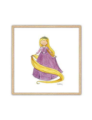 CUADRIMAN Cuadro de Princesas - Rapunzel - 27 x 27 cm - Decoración para Niños y Niñas - para El Dormitorio o Habitación