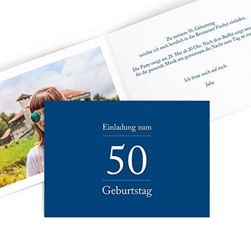 Hoogwaardige uitnodigingskaarten voor verjaardag (1 – 99 jaar) | cijferpoort in rood | verjaardag uitnodiging met druk van uw eigen teksten | verjaardagskaarten 80 Stück blauw