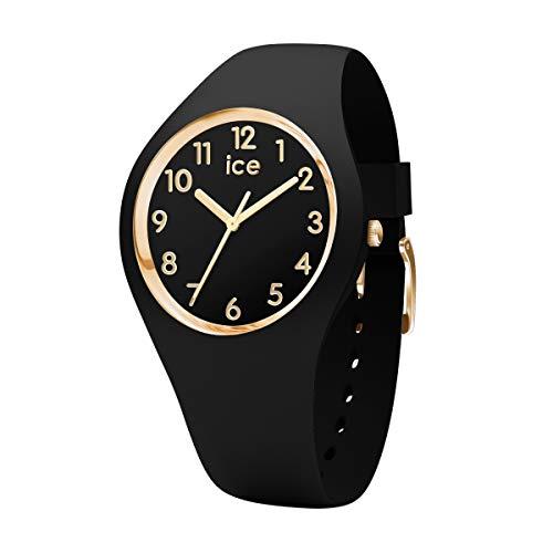 ICE-WATCH - ICE glam Black Gold Numbers - Schwarze Damenuhr mit Silikonarmband - 015338 (Small)