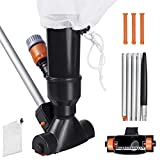 ARLBA Small Swimming Pool Leaf Vacuum Head Cleaner w/5 Pole Sections Handle,Brush &Net Bag,Spa Portable Mini Jet Pool Vacuum for Hot Tub, Above Ground Pool,Pond & Fountain -Attaches to Garden Hose