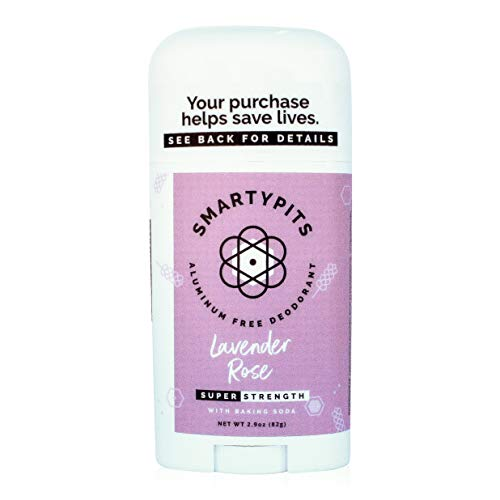 SmartyPits - Natural/Aluminum-Free Deodorant (with baking soda) Paraben Free, Phthalate Free, PROPYLENE GLYCOL FREE, Not Tested on Animals | 2.9oz  (Lavender Rose)