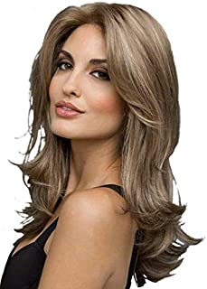 Fluffy Medium length Slightly curled Wig - Dark Gold