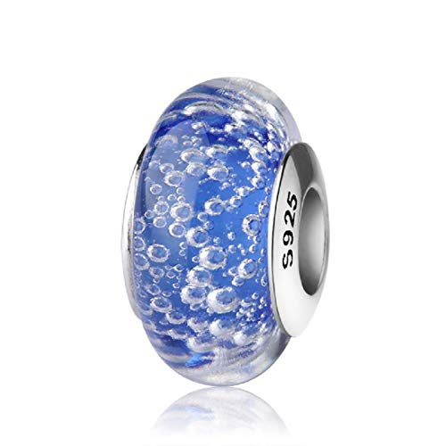 EVESCITY Real Murano & 925 Silver Handcrafted Art Colorful Glass Beads for Charm Bracelets  Best Jewelry Gifts for Her Women
