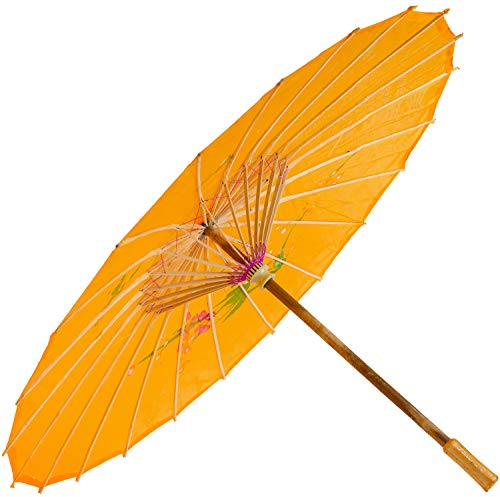 Chinesischer Schirm | Regen- & Sonnenschirm | authentische Bemalung in Handarbeit | Bambus Holz und traditionelle Bespannung: Farbe: orange