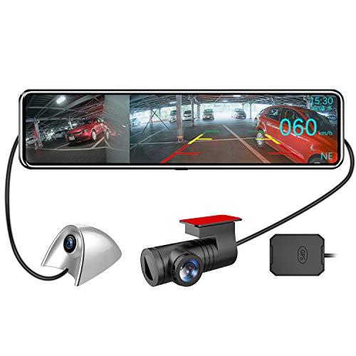 AKEEYO ドライブレコーダー ミラー型 12インチ 前後カメラ 3カメラ 2020年11月更新版 タイムプラス録画 ドライブレコーダー サイドカメラ付き サイド+前後カメラ死角低減 夜間+雨天の視認性向上 穴開けなしで貼り付け簡単 超ワイド12インチ大画面 前1080P後1080Pサイド1080P/720P HD 200万画素 最適な右側カメラ仕様 GPS搭載追跡 HUDモード 音声コントロール 前後サイド同時録画表示 広角レンズ デジタルインナーミラー 日本全国LED信号機対応 SONYセンサー STARVISスーパー暗視 ドラレコ リバース連動 地デジ干渉対策 IPSタッチパネル ループ録画 衝撃感知録画 駐車感知録画 Gセンサー 業界未来型 32GBカード付属 日本語取扱説明書 一年安心保証 New AKY-X3GTL-NV