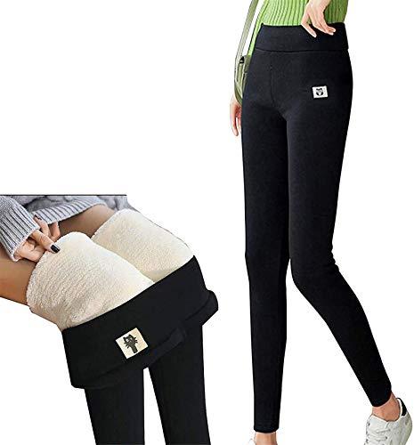 Ashopfun Super thick Cashmere Leggings Trousers High Waist Winter Warm, Women Leggings Winter Warm Pants Leggings (Black, 2XL)