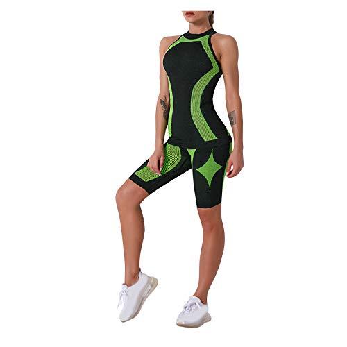YANFANG Conjunto de Yoga para Mujer,Pantalones Cortos de Chaleco Deportivo al Aire Libre de Dos Piezas con Rayas sin Costuras para Mujer,para gimnacio,Adelgazar,, S,Green