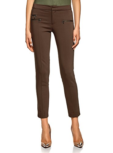 oodji Ultra Mujer Pantalones Ajustados con Cremalleras Decorativas, Marrón, ES 38 / S