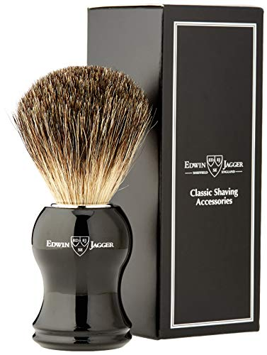 Edwin Jagger Pennello da Barba in Pelo di Tasso Pure Badger, Nero - 66 g