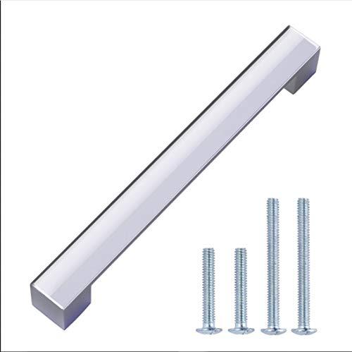 AmazonBasics - Steggriff, Möbelgriff, kurz, modern, 19,2 cm Länge (16 cm Lochmitte zu Lochmitte), Poliertes Chrom, 10er-Pack
