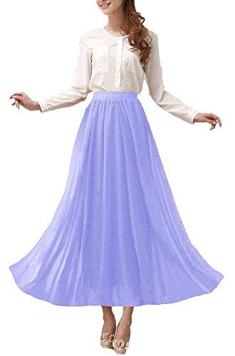 Afibi Womens Chiffon Retro Long Maxi Skirt Beach Ankle Length Skirt (Large, Lavender)