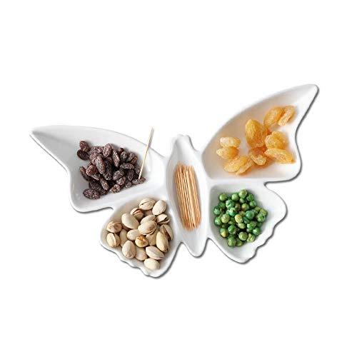 DYXYH Platos creativos de Porcelana con Forma de Mariposa, Platos de Frutas, Plato para Pasteles, Plato para Dulces, Bandeja para ensaladas, vajilla de cerámica, decoración, vajilla