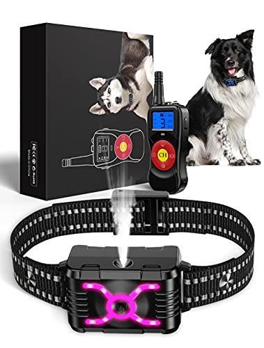 Soyao Anti-Bell-Halsband mit 792,5 m Fernbedienung, Hunde-Trainingshalsband mit Vibration & Spray & Sound, Anti-Bell-Halsband für kleine, mittelgroße und große Hunde