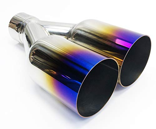 Exhaust Tip 2.25' Inlet 3.50' X 7.25' Outlet 10.50' long Dual Round Stainless Purple Blue Flame Wesdon Exhaust Tip