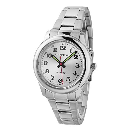 Unisex Talking Watches Waterproof Stainless Steel for Seniors Visually Impaired Analog Quartz Alarm Watch