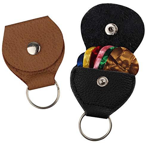 Futheda 2 Stück Leder Plektrumhalter Schlüsselring und 6 Stück doppelseitig bunte Zelluloid-Material Gitarrenplektren für E-, Akustik- oder Bassgitarre 0,96 mm