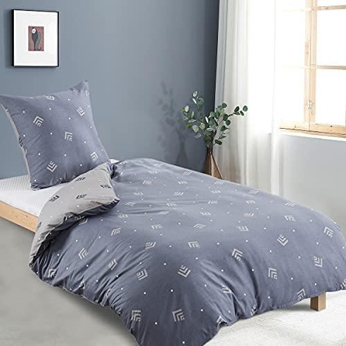 RUIKASI Bettwäsche 135x200 4teilig Baumwolle Grau Geometrie 100% Atmungsaktive Angenehme Baumwollbettwäsche - 2 Bettbezüge 135 x 200 cm + 2 Kissenbezüge 80 x 80 cm mit Reißverschluss