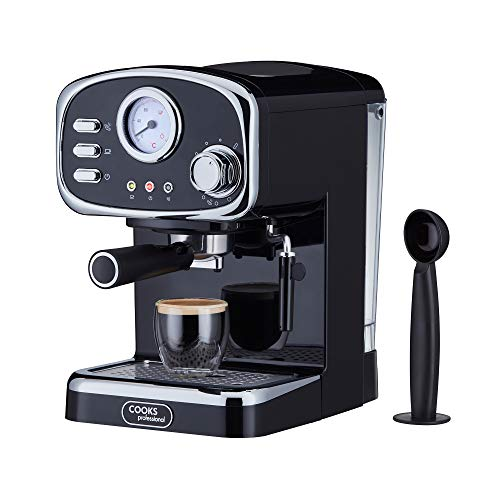 Cooks Professional 15 Bar Retro Coffee Machine, Steam Wand, Temperature Gauge & Large Capacity