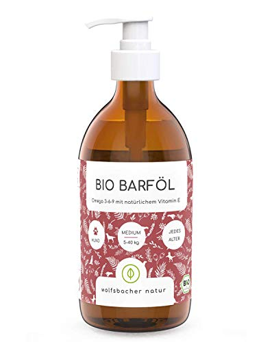 Bio Barf-Öl für Hunde und Katzen (500ml), Mit Vitamin E aus 6 verschiedenen Ölen - Omega 3 6 9 Öl aus kontrolliert biologischem Anbau, DE-ÖKO-060