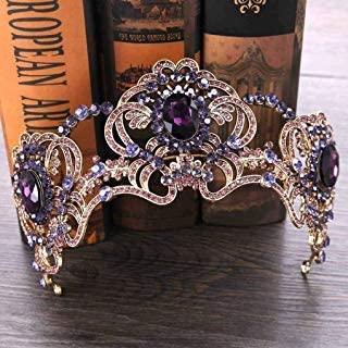 Yfe Wedding Bridal Crown Purple Retro Vintage Crowns and Tiaras for Women Prom Costume Headband