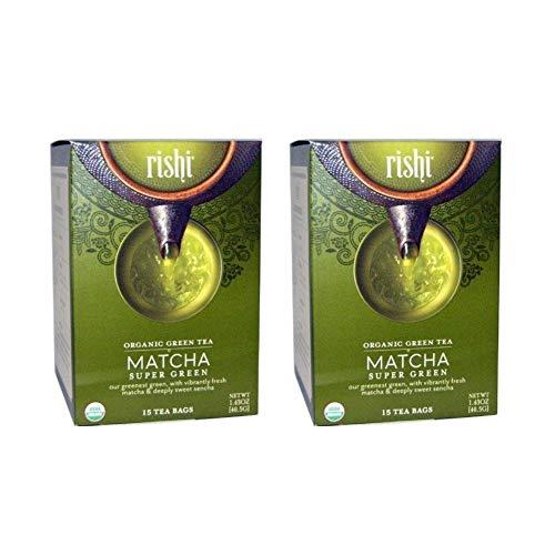 Rishi Matcha Super Green Tea, Organic Green Tea Sachet Bags, 15 Count (Pack of 2)