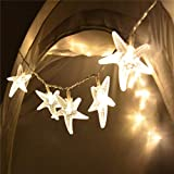 echosari Battery Operated Warm White 30 LED Fairy String Lights Starfish Shaped with Remote Indoor&Outdoor Used for Christmas, Party, Wedding, New Year Decorations, Etc