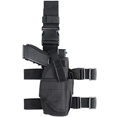 XAegis Drop Leg Holster for Pistols Tactical Thigh Rig Gun Holster with Magazine Pouch Adjustable Right Handed,Black