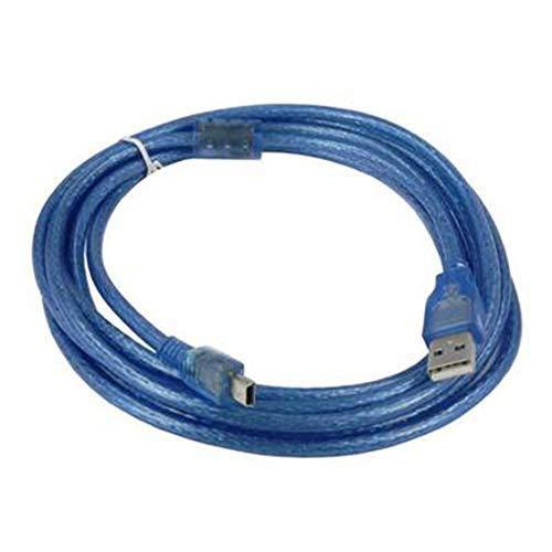 PGIGE 3 Metros USB 2.0 A Macho a Mini USB B 5 Pines Cable de Cable de Datos Macho Adaptador Convertidor Cable de alimentación Cargador para cámara Arduino - Azul